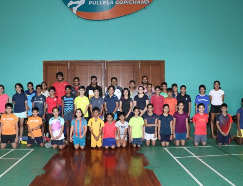 Training of Badminton students at the prestigious Gopichand Academy
